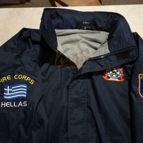 Αδιάβροχο jacket με επένδυση και κεντήματα Πυροσβεστικού Σώματος
