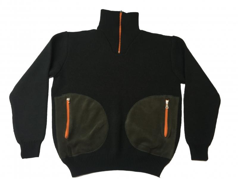 Κυνηγετικό πουλόβερ πλεκτό πικέ με fleece τσέπες και φερμουάρ