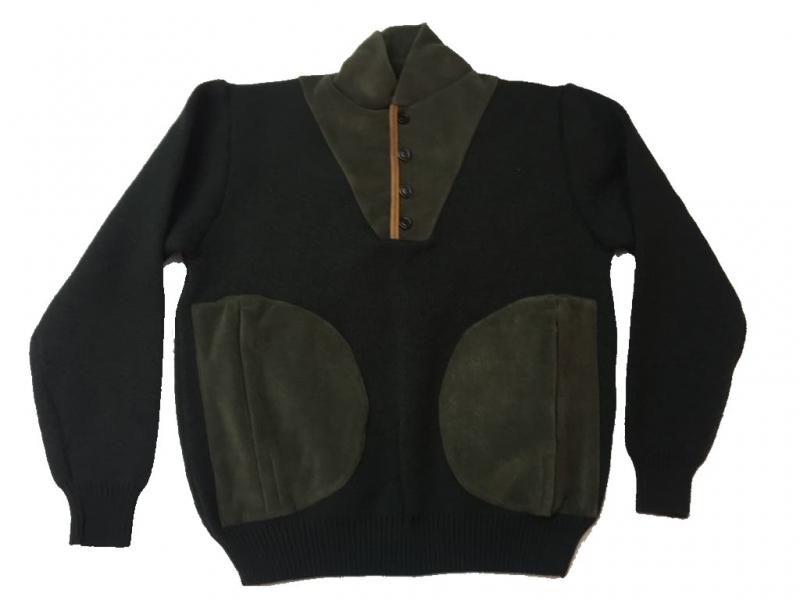 Κυνηγετικό πουλόβερ πλεκτό πικέ με fleece τσέπες και κουμπιά στο λαιμό