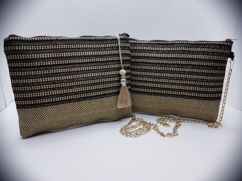 Υφαντή τσάντα χειρός με προσθήκη αλυσίδας